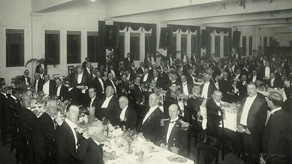 Photograph showing some of the dignitaries attending the Banquet to the Prince of Wales in the Commonwealth Bank Luncheon Hall.