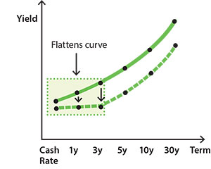 Image showing how different monetary policy tools influence the yield curve including changes to the policy interest rate, forward guidance and different types of asset purchases.