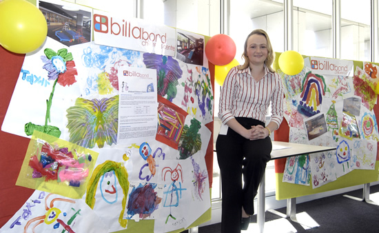 Photograph of paintings on display from children at the Billabond Children's Centre