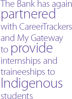 The Bank has again partnered with CareerTrackers and My Gateway to provide internships and traineeships to Indigenous students