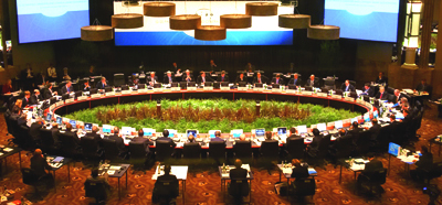 Photograph: Treasurer Peter Costello and Governor Glenn Stevens represented Australia at the G-20 meeting of finance ministers and central bank governors in Melbourne in November 2006.