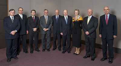 Photograph: Members of the Reserve Bank Board attending the June 2008 Board meeting at the Bank's Head Office in Sydney. From left to right, Donald McGauchie, Ken Henry (Secretary to the Treasury), Warwick McKibbin, Graham Kraehe, Ric Battellino (Deputy Governor), Glenn Stevens (Governor and Chairman), Jillian Broadbent, Roger Corbett and John Akehurst.