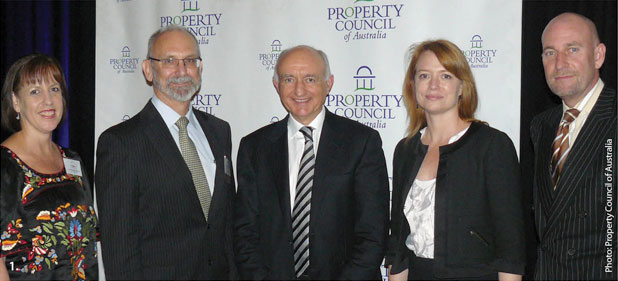 Deputy Governor Ric Battellino (centre) at the Property Council of Australia Downtown Luncheon with (from left) Kathy MacDermott (Property Council of Australia), Mark Burow (Rider Levett Bucknall), Susan Playford (PDT Architects) and Peter Verwer (Property Council of Australia). Photo: Property Council of Australia