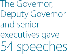 The Governor, Deputy Governor and senior executives gave 54 speeches