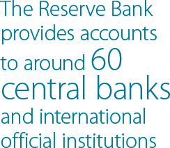 The Reserve Bank provides accounts to around 60 central banks and international official institutions