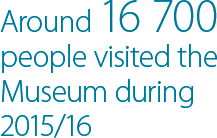 Around 16,700 people visited the Museum during 2015/16