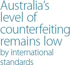 Australia's level of counterfeiting remains low by international standards