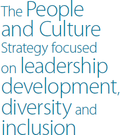 The People and Culture Strategy focused on leadership development, diversity and inclusion