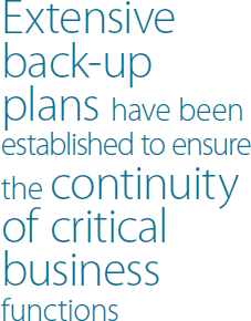 Extensive back.up plans have been established to ensure the continuity of critical business functions