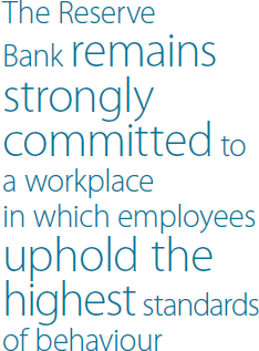 The Reserve Bank remains strongly committed to a workplace in which employees uphold the highest standards of behaviour