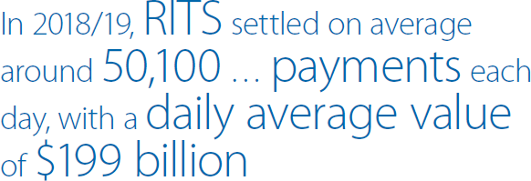 In 2018/19, RITS settled on average around 50,100 … payments each day, with a daily average value of $199 billion