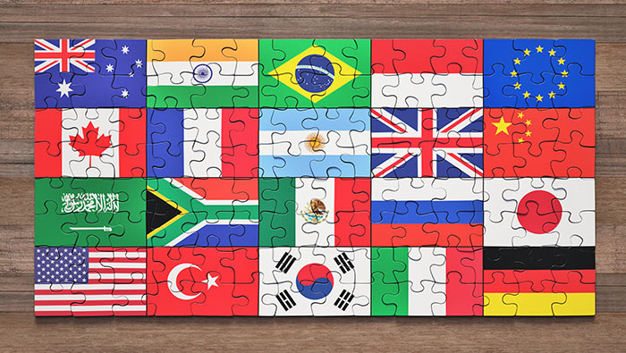 A puzzle showing flags of the G20 countries