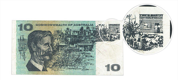 Figure 2: Ten dollar banknote with an enlarged area for the Times Bakery building