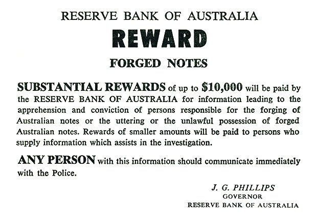 Figure 3: A note offering a 'substantial reward' for helping to apprehend forgerers.