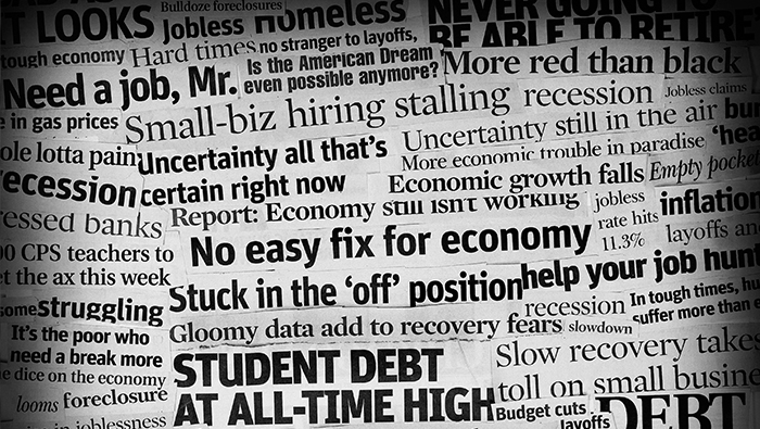 A collage of newspaper headline clippings related to economic topics.