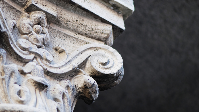 Detail of an old stone building's ornament.