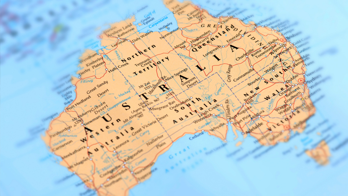 The detail of a map showing the Australian continent.